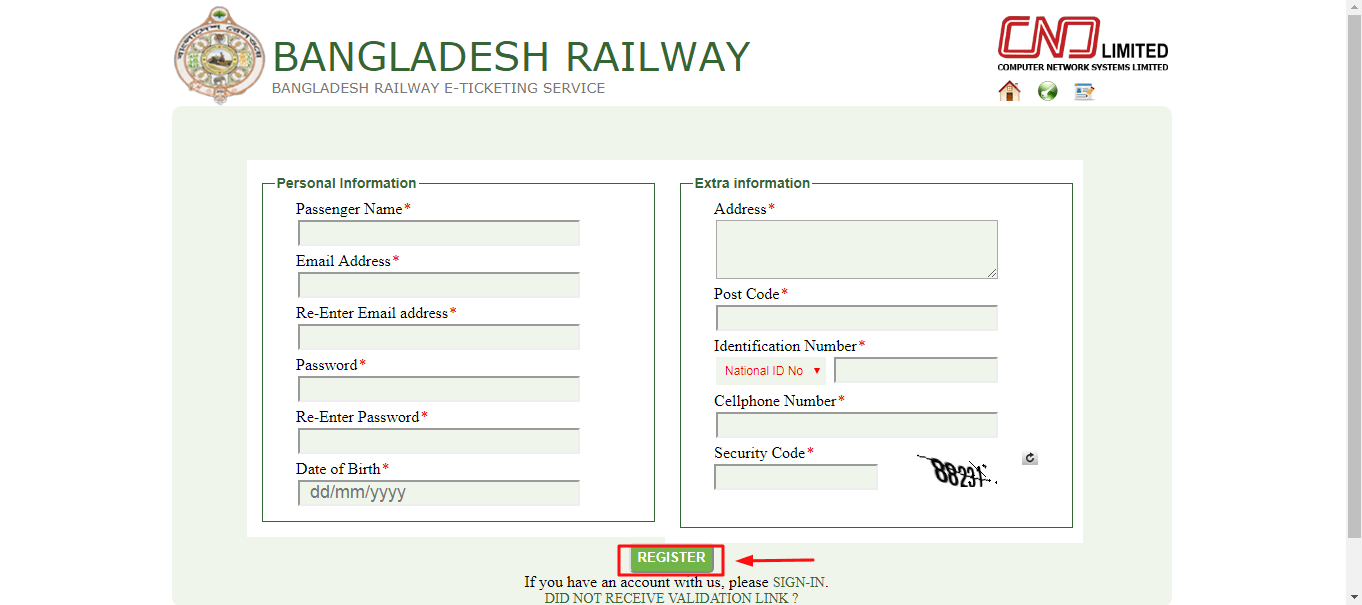 Railway esheba register form