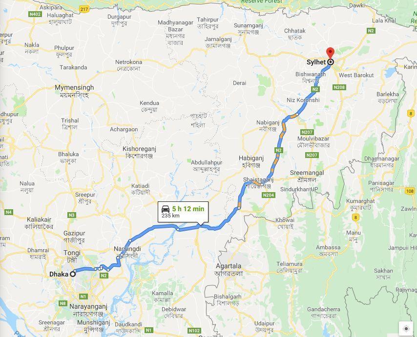 dhaka to sylhet train route map